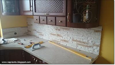kamień dekoracyjny na blacie w kuchni