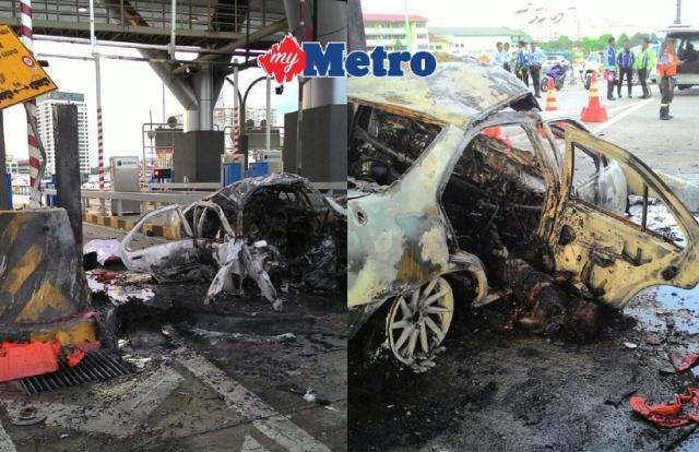 Pemandu Mati Rentug, Kereta Terbakar Rempuh Plaza Tol