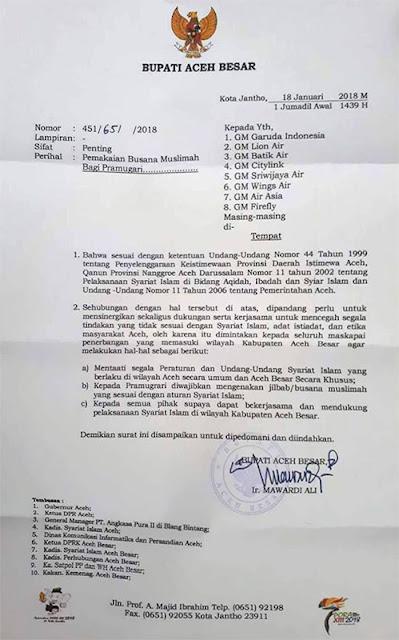 Isi surat Bupati untuk ketertiban syariat islam di Aceh