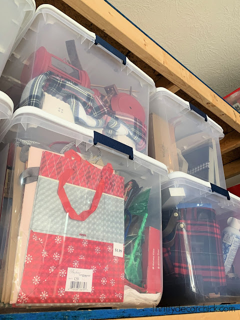 clear storage bins for holiday decor