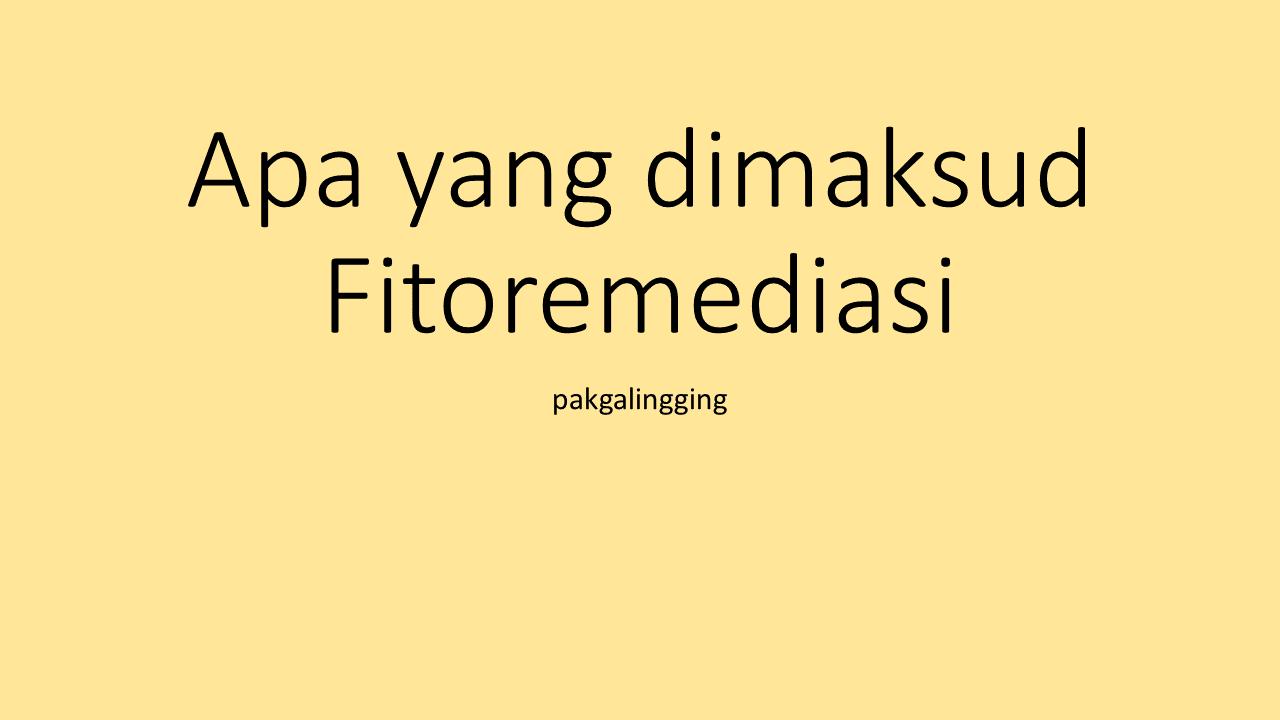 Mengenal Apa yang dimaksud dengan Fitoremediasi
