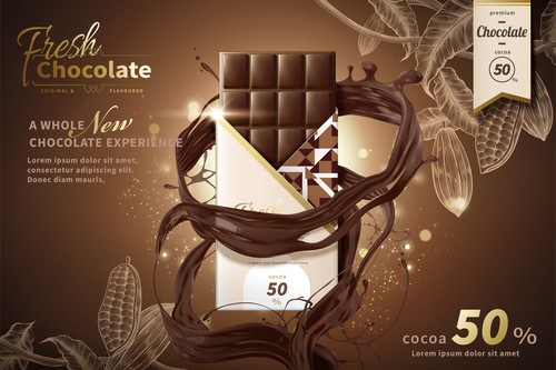 Fresh chocolate advertising poster template free vectors