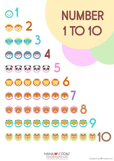 Mama Love Print Printable - 1 to 10 數字動物海報字卡 Number One to Ten Posters and Flashcards with Animals Free Download Freebies Printables