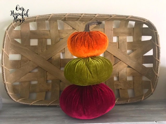 orange cranberry green jewel toned velvet pumpkin topiary tobacco basket