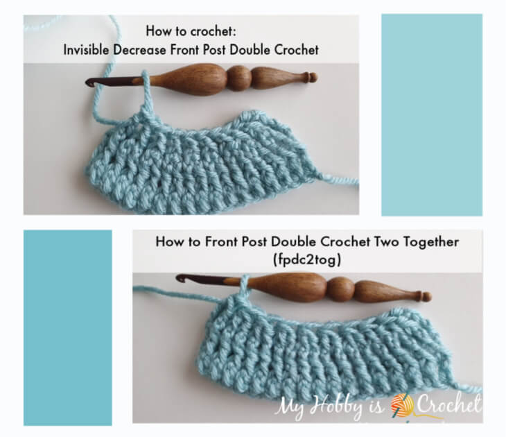 decrease front post double crochet, two ways