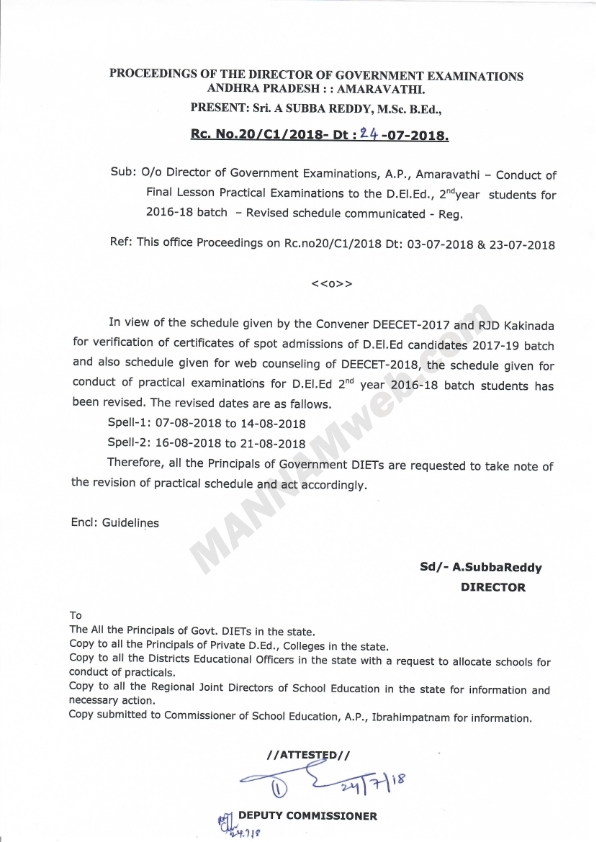Revised Guidelines for conduct of D.El.Ed., 2nd  Year Final Lesson Practical Examinations July-2018