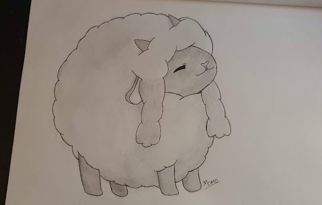 Wooloo drawing sketch hand drawn Momo happy round wool friend sheep Pokémon