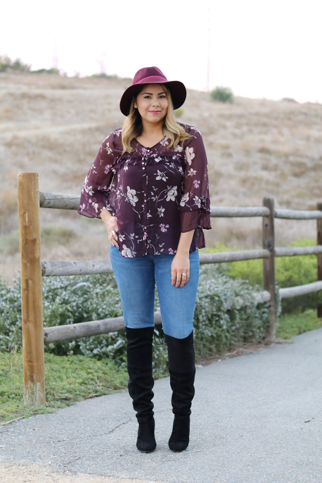 Burgundy fall floral outfit, burgundy and blush sheer top, burgundy felt fedora, san diego fashion blogger