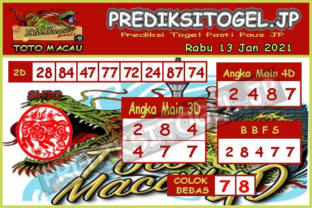 Prediksi Togel Toto Macau JP Rabu 13 Januari 2021