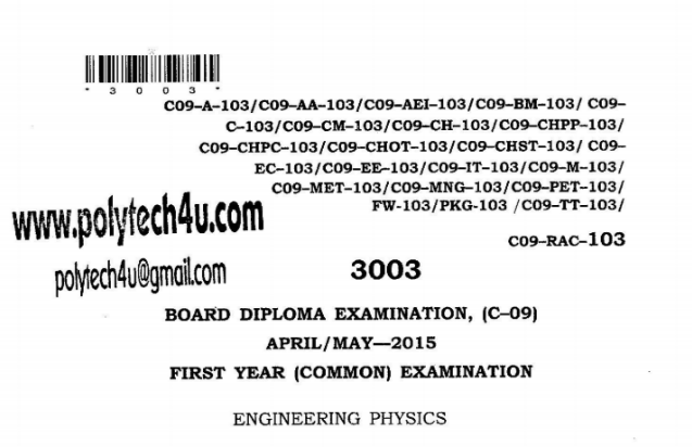SBTET AP C09 ENGINEERING PHYSICS COMMON PREVIOUS QUESTION PAPER