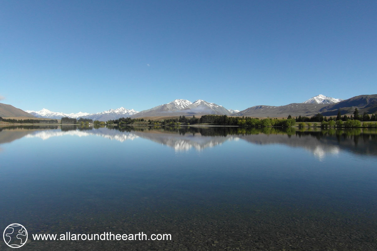 Reflections in Lake Camp, South Island of New Zealand