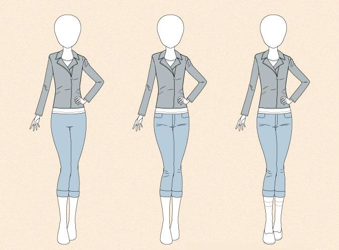 Menggambar jins ketat anime pada contoh gambar tubuh