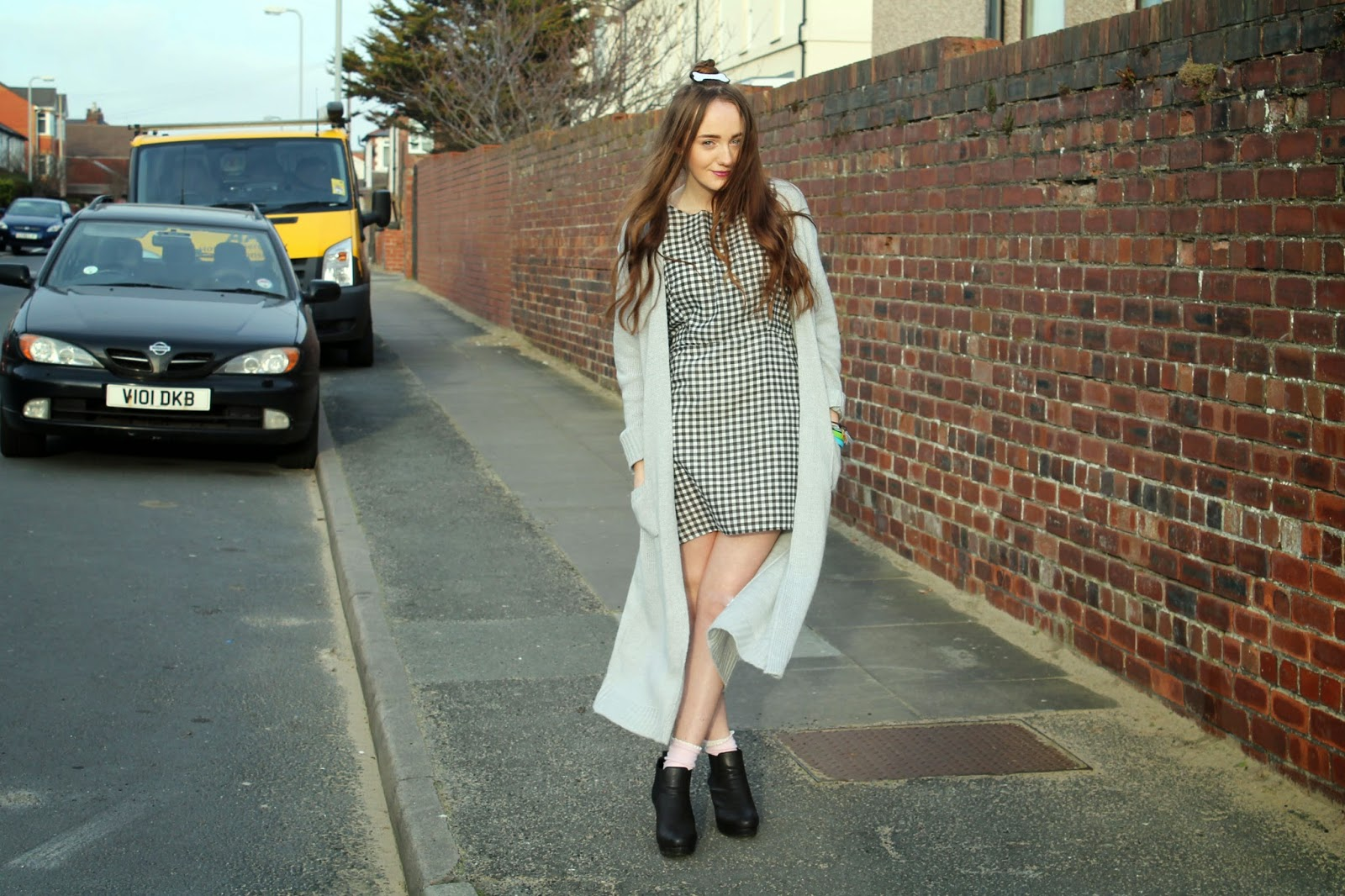 primark floor length cardigan, gingham smock dress, asos heeled chelsea ankle boots, primark frilly socks