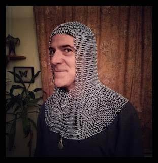 handsome man in chainmail coif