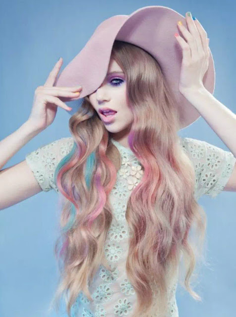 pink pastel blue blonde ombre hairstyles