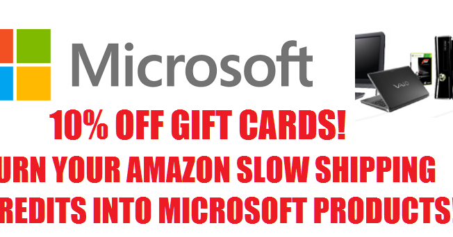 10 off microsoft gift cards 10 gift card for 9 you can use your amazon prime slow. Black Bedroom Furniture Sets. Home Design Ideas