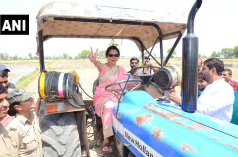 बीजेपी कैंडिडेट हेमा मालिनी, जिन्होंने गेहूं काटने के बाद गोवर्धन में ट्रैक्टर चलाया