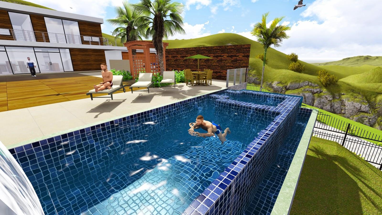 Projeto de piscina em 3d renderizado projetos de for Piscinas en autocad