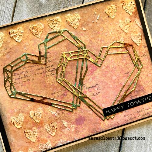 Sara Emily Barker https://sarascloset1.blogspot.com/ Tim Holtz Sizzix Geo Frames Crochet 2 Valentine Card Set Tutorial 3