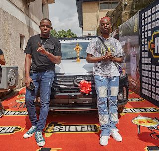 GX GOSSIP: REMA & his Manager Super Sean All Smiles as the artist picks up his Next Rated Car from Headies Awards Organizers