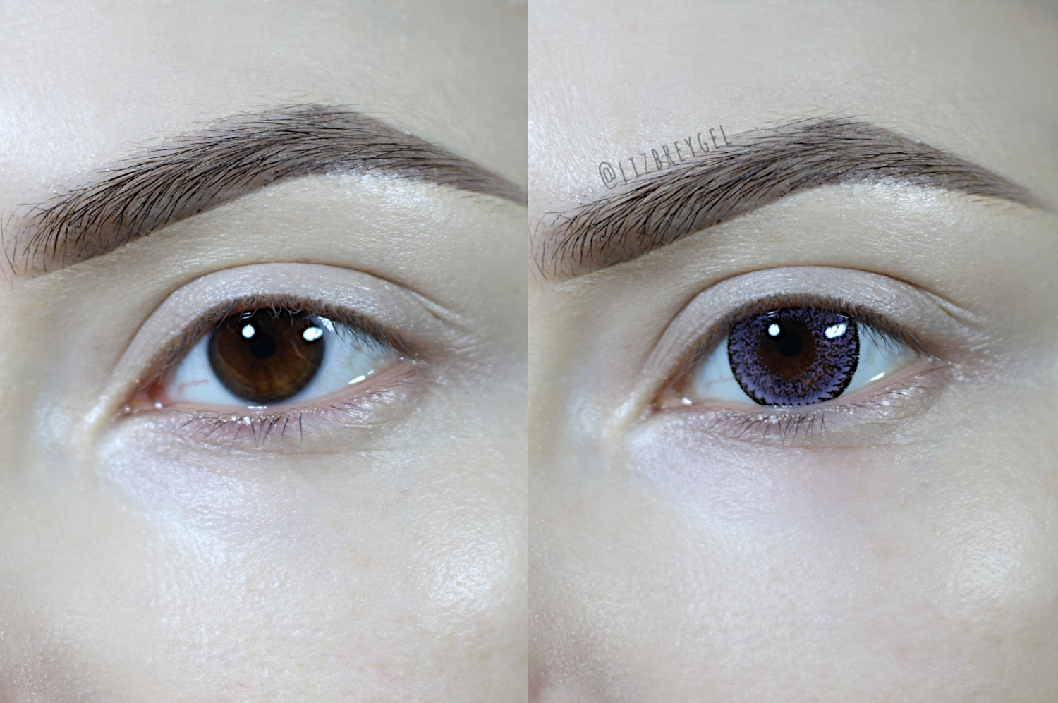 circle lenses demonstration on brown eyes before and after