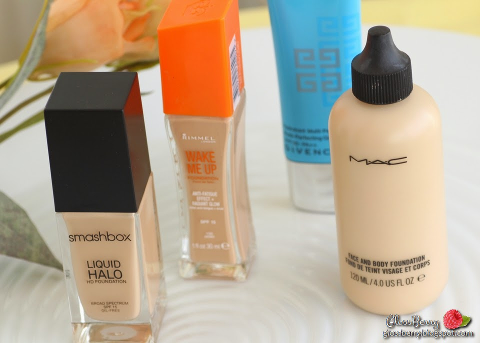 Smashbox - Liquid Halo HD Foundation  MAC - Face and Body Foundation  Rimmel - Wake Me Up Foundation  Givenchy - Hydra Sparkling Nude Look BB Cream review swatches glossberry beauty blog n1 2 100 ivory nw15 nw20 בלוג איפור וטיפוח סקירה מייקאפים לחורף לעור יבש מומלצים ג'יבנשי מאק רימל סמאשבוקס