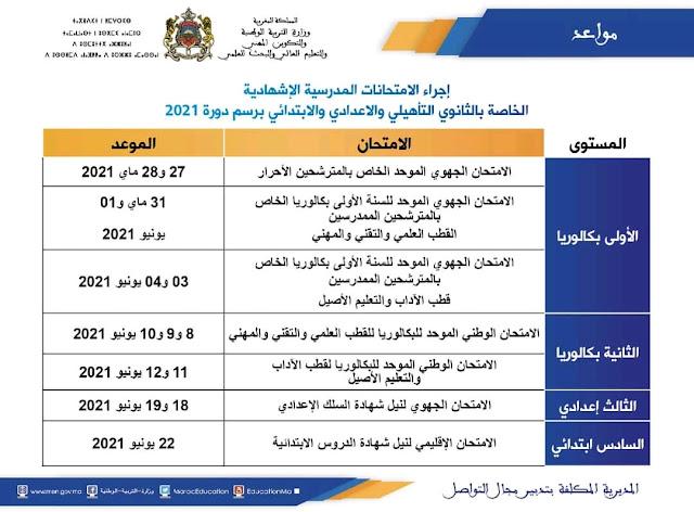 مواعد إجراء الامتحانات المدرسية الإشهادية الخاصة بالثانوي التأهيلي و الإعدادي و الابتدائي برسم دورة 2021
