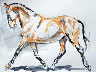 expressive painting of horse movement