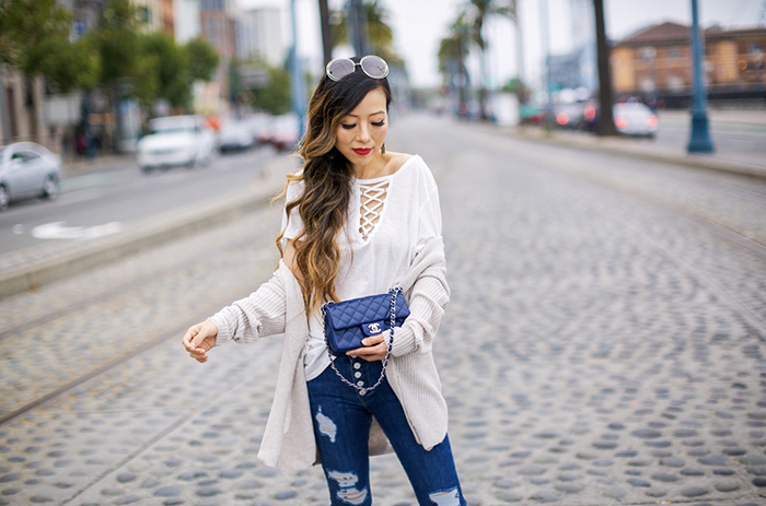 lace up tee, bp Distressed Cotton Cardigan, distressed cardigan, free people Destroyed Reagan Raw Jeans, hush puppies bootie sandals, chanel classic mini flap bag, chloe sunglasses, kendra scott earrings, san francisco street style, san francisco style blog