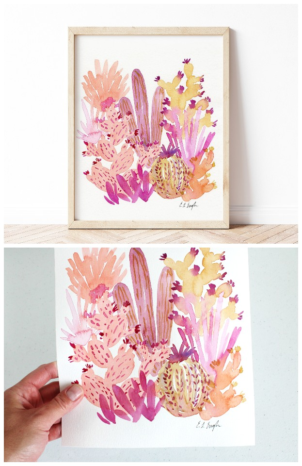Pink Watercolor Cactus Painting by Elise Engh