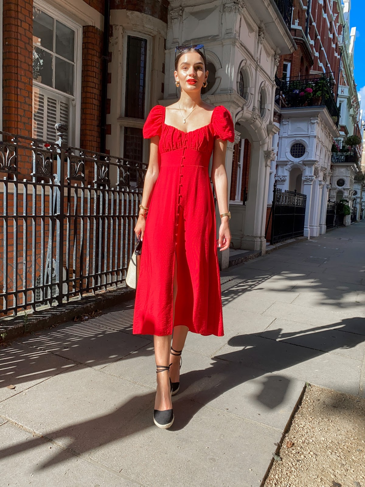 zara midi dress red