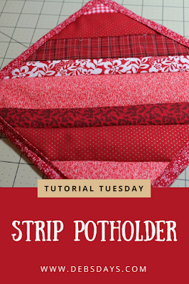 Homemade Quilted Fabric Strip Potholder Sewing Project