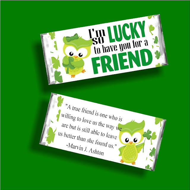 "Let your Ministering sisters know how lucky you are to have them in your life with this fun St Patricks Day candy bar printable. With the saying ""I'm lucky to have you for a friend"" on the front and a beautiful saying about friends on the back, this is the perfect card and gift for any of your friends this March."