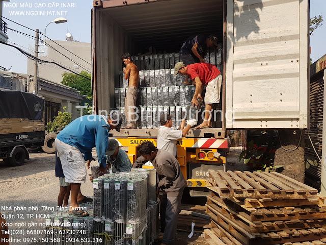 Nhập kho 2 container ngói lợp Inari