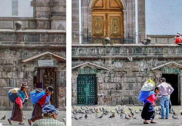 Mulheres indígenas na Plaza San Francisco, Centro Histórico de Quito