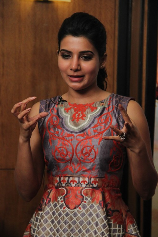 Samantha Cute Funny Looking Stills In Red Dress