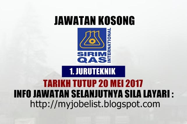 Jawatan Kosong di SIRIM QAS International Sdn Bhd Mei 2017