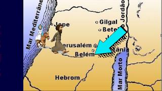 Mapa de Belém com a jornada de Maria e José