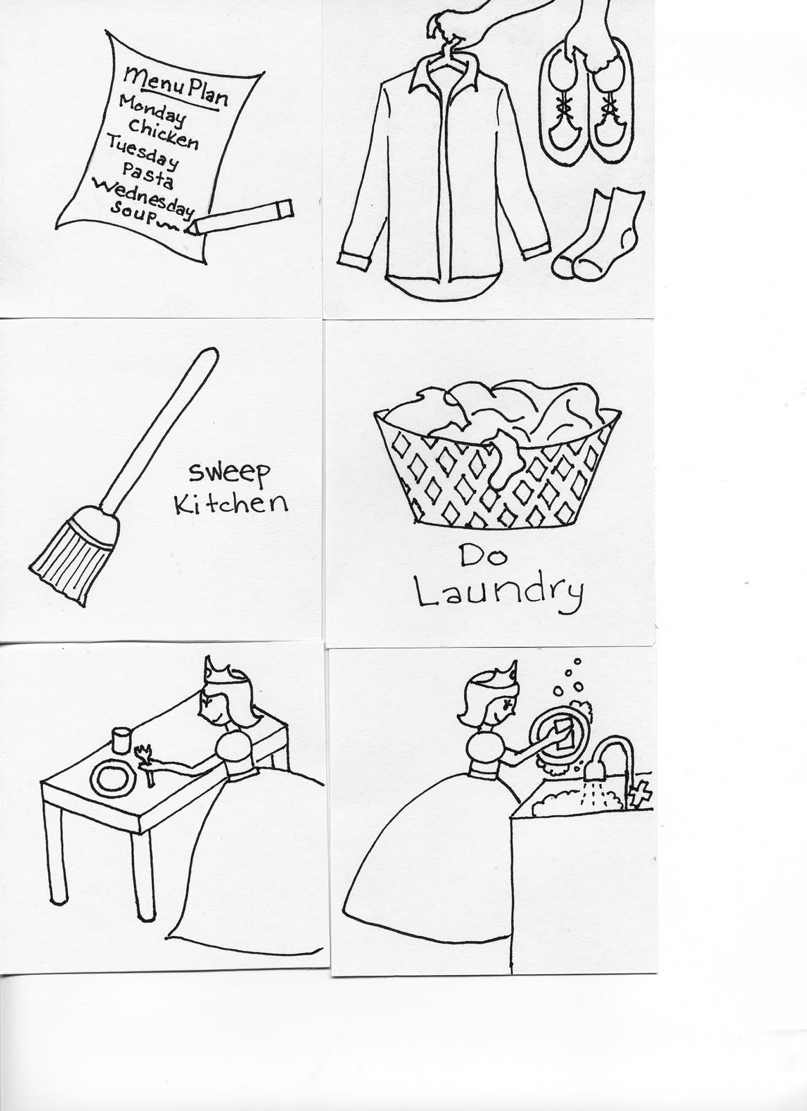 coloring pages kids chores by age | Chore Chart Drawings - The Next Set