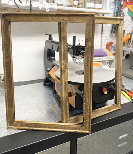 drying stained frames in workshop