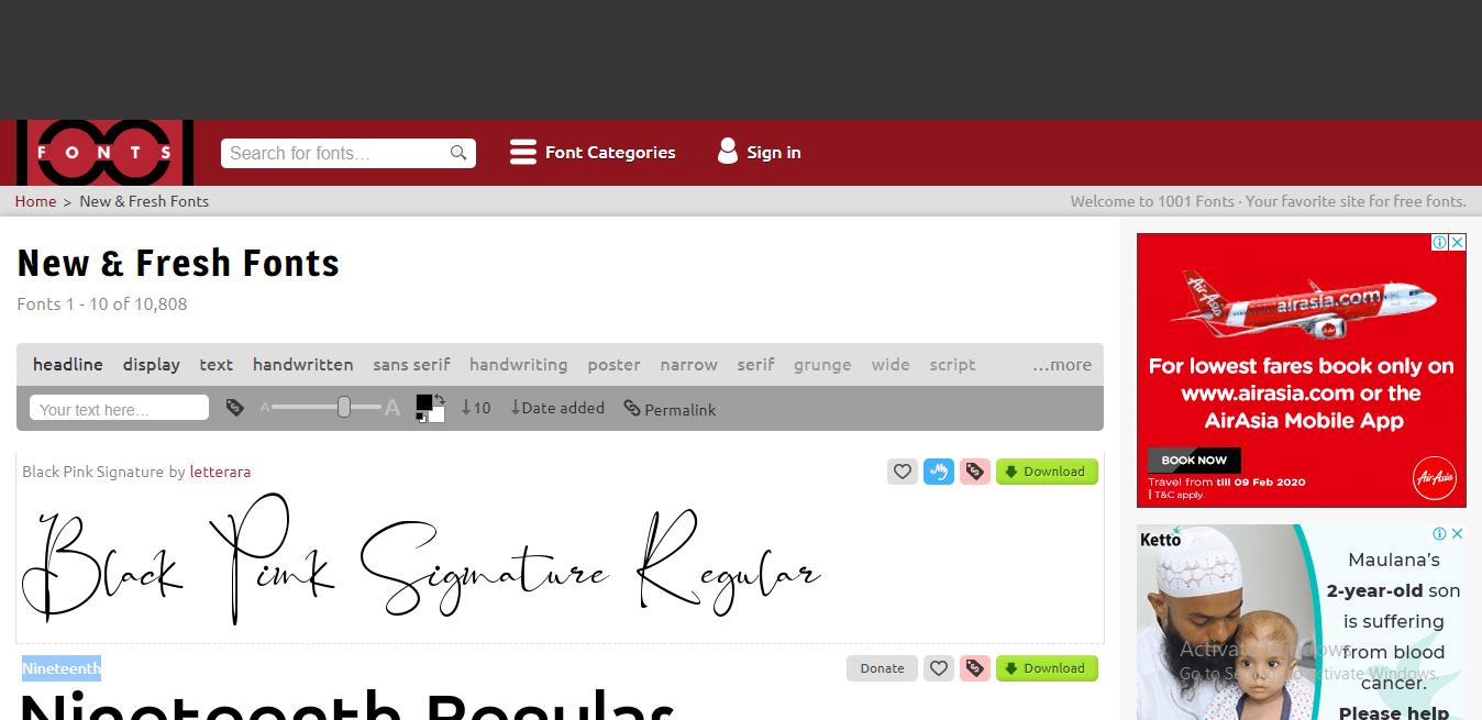 1001fonts-best font websites