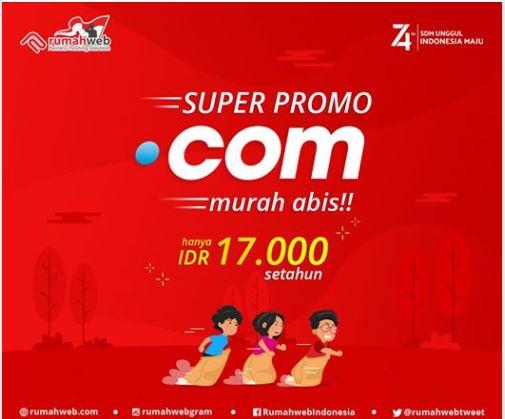 Beli Domain Murah COM hanya 17 ribu promo FlashSale di Rumah Web