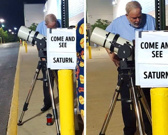 15 Powerful Pictures That Will Make Your Day - This man invites everybody to look at Saturn