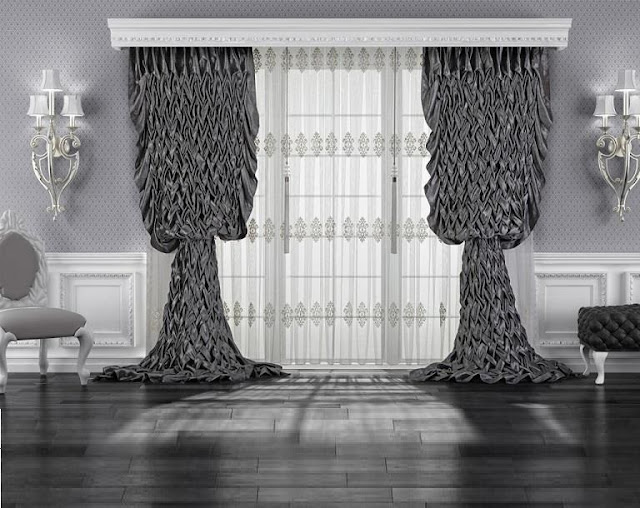 Unusual black modern curtain designs and patterns for living room