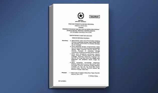PP Nomor 63 Tahun 2021 tentang Pemberian Tunjangan Hari Raya atau THR dan Gaji Ke-13 Tahun 2021