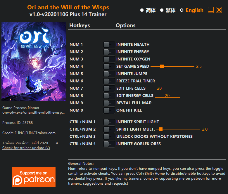 Ori and the Will of the Wisps: Trainer (+14) [1.0 - UPD: 06.11.2020]