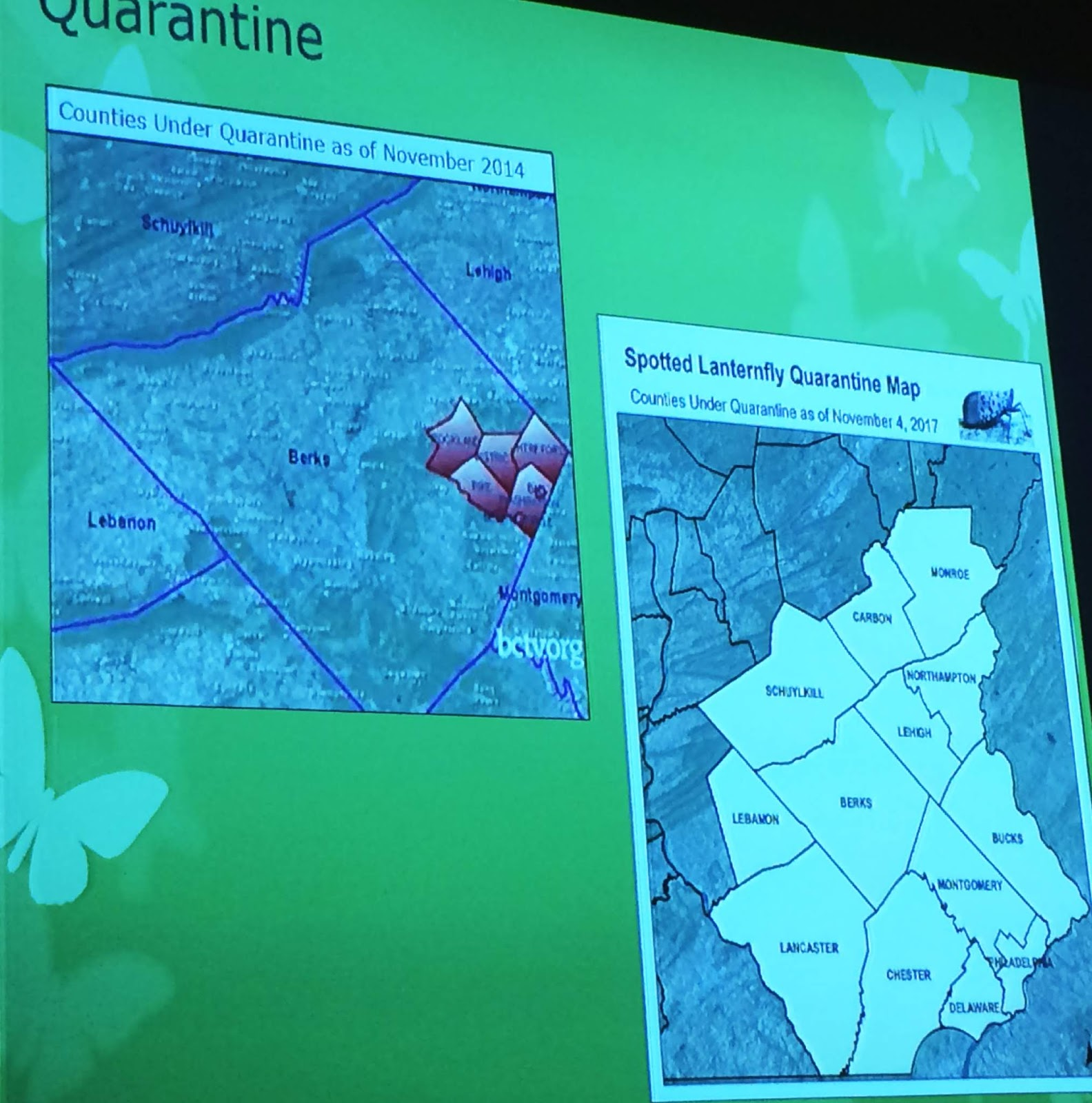 the map on the left shows the first five berks county townships where quarantine efforts began at right is the counties where a quarantine is now in place