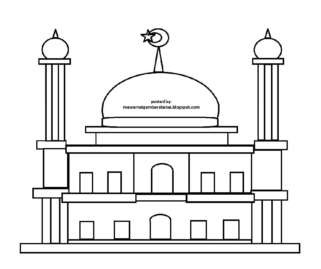 Gambar Mewarnai Gambar Sketsa Masjid 15 Kolase Di Rebanas Rebanas
