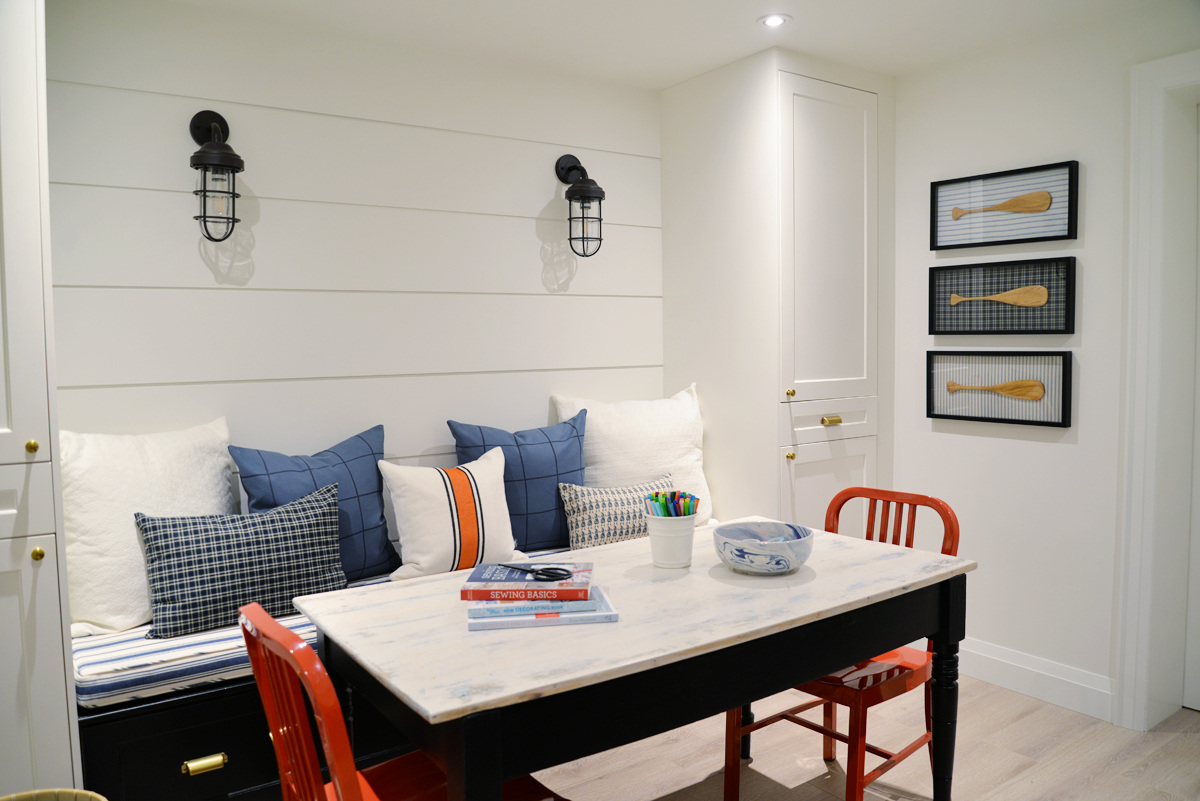 shiplap accent wall, wide shiplap, white shiplap wall, coastal decor, nautical decor