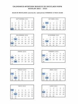 Calendario Servicio Reciclado de Uniformes